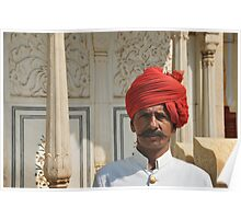 man in red turban, Rajasthan, India Poster
