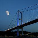 Moon over Bosphorus Bridge, Istanbul by digitalmidge