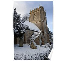 Snow covered church in Dorset Poster