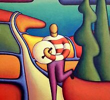 Bodhran player in soft landscape with road by Alan Kenny