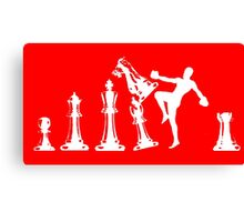 Kickboxing Chess Knee White  Canvas Print