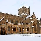 Snow covered Sherborne Abbey Dorset by Chris L Smith