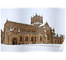 Snow covered Sherborne Abbey Dorset Poster