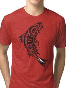 Northwest Native Indian fish totem (vertical) Tri-blend T-Shirt