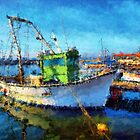 The Green Fisher Boat by jean-louis bouzou