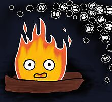 Calcifer and Soot Sprites Drawing  by PlatypusDoodles