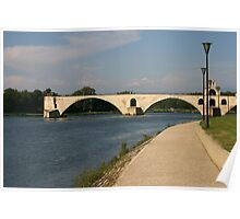 The bridge over the Rhone at Avignon France Poster