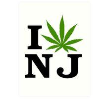 I Love New Jersey Marijuana Cannabis Weed T-Shirt Art Print