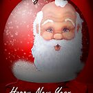 My Santa Globe Christmas Card by Barbara Applegate