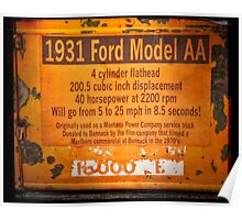 1931 Ford Model AA Truck Sign Poster