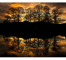 Sunset reflections on the river Brathay Photographic Print