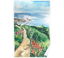 Ocean Path Landscape Watercolour Painting Poster