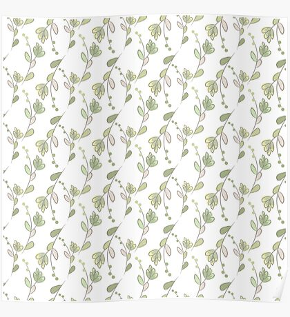 Seamless ecology pattern with hand drawn leaves Poster