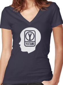 YUTANI Corporate Logo (Head version) [White] Women's Fitted V-Neck T-Shirt