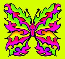 Fire Butterfly Pink and Lime by Sookiesooker