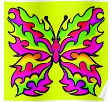 Fire Butterfly Pink and Lime Poster
