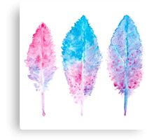 Elegant vector background with watercolor drawing feathers. Canvas Print