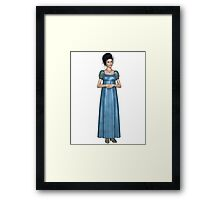 Regency Woman in Blue Dress Framed Print