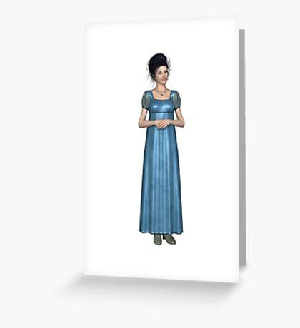 Regency Woman in Blue Dress Greeting Card