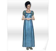 Regency Woman in Blue Dress Poster
