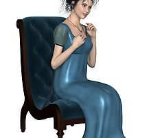 Regency Woman in Blue Dress Sitting on a Chair by algoldesigns