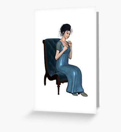 Regency Woman in Blue Dress Sitting on a Chair Greeting Card