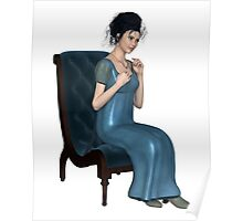 Regency Woman in Blue Dress Sitting on a Chair Poster