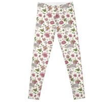 Floral seamless pattern with fantasy blooming flowers Leggings