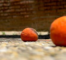 Oranges on the pavement by Shienna