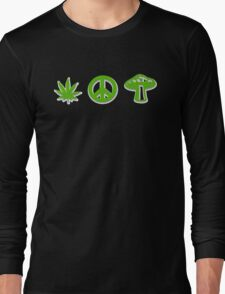 Marijuana Peace Mushrooms Long Sleeve T-Shirt