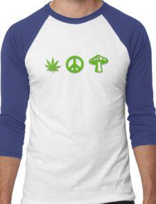 Marijuana Peace Mushrooms Men's Baseball ¾ T-Shirt