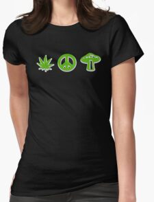 Marijuana Peace Mushrooms Womens Fitted T-Shirt