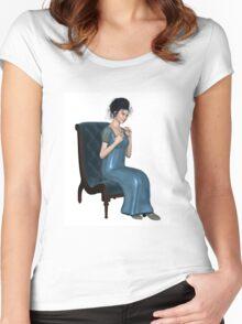 Regency Woman in Blue Dress Sitting on a Chair Women's Fitted Scoop T-Shirt