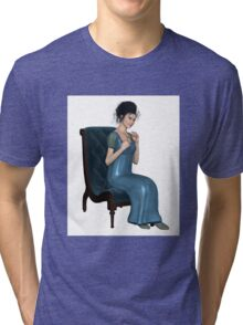 Regency Woman in Blue Dress Sitting on a Chair Tri-blend T-Shirt