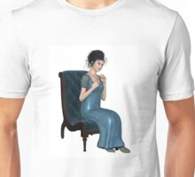 Regency Woman in Blue Dress Sitting on a Chair Unisex T-Shirt