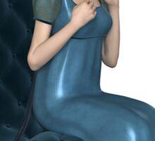 Regency Woman in Blue Dress Sitting on a Chair Sticker