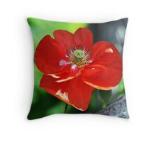 Vibrant Red Flower Throw Pillow