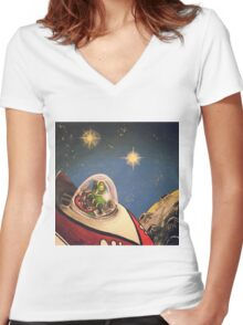 Space Toys Women's Fitted V-Neck T-Shirt