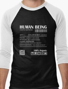 Human Being Shipping Label Men's Baseball ¾ T-Shirt