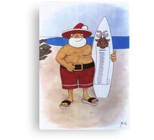 Santa with surfboard Canvas Print