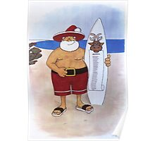 Santa with surfboard Poster