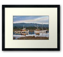 Boats Along the Huon Framed Print