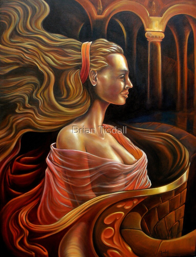 Fantasy, the lady on the balcony. by Brian Tisdall