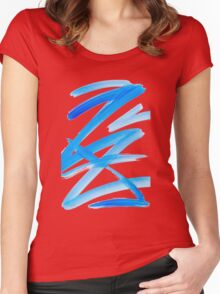 Blue Zig Zag Abstract Women's Fitted Scoop T-Shirt