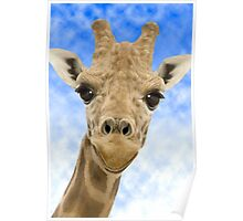 """""""Funny Face"""" - Giraffe giving a very animated smiling face Poster"""
