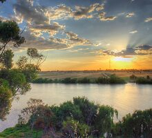Sunset On The Bend - Talem Bend, The River Murray, SA by Mark Richards