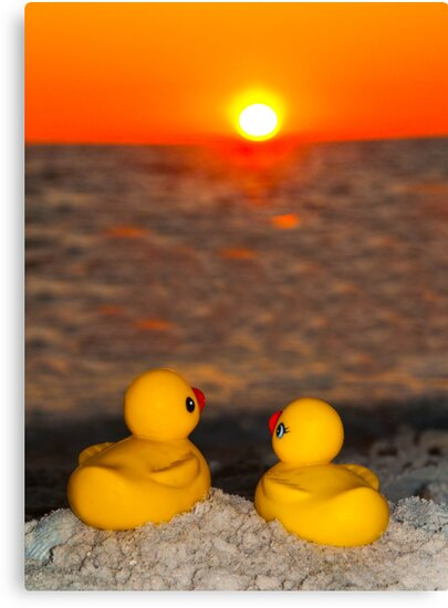 """""""Romancing The Sun"""" - two rubber ducks at sunset by ArtThatSmiles"""