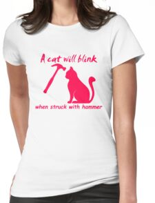 Cat Will Blink Womens Fitted T-Shirt