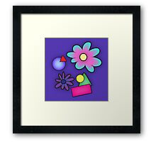 RETRO-Vibrant 80s Abstract Shapes & Flowers Framed Print