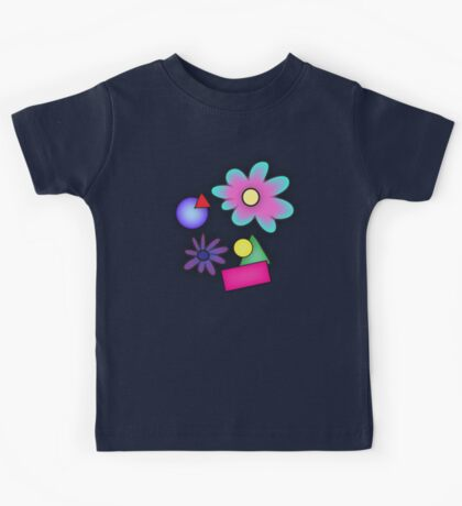 RETRO-Vibrant 80s Abstract Shapes & Flowers Kids Tee